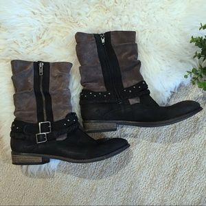 Matisse leather biker boots black grey moto size 8